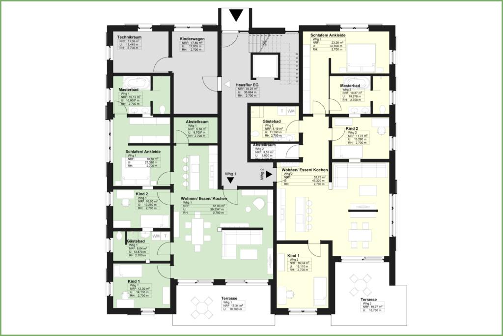 Döbeln Walduferviertel: Grundriss Mehrfamilienhaus Erdgeschoss