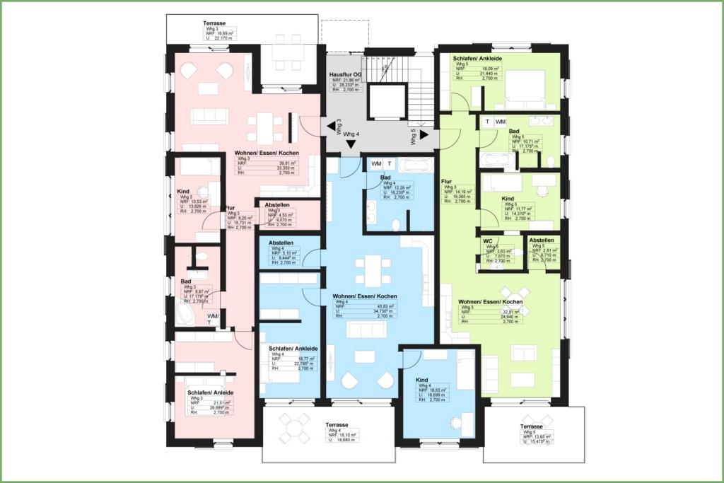 Döbeln Walduferviertel: Grundriss Mehrfamilienhaus Obergeschoss