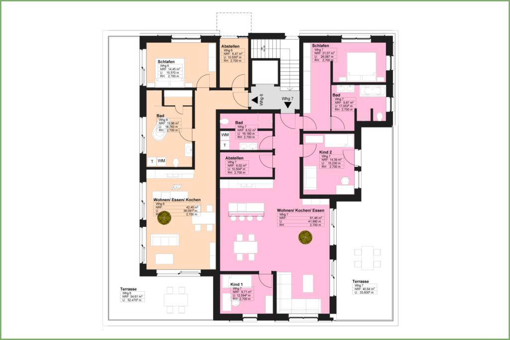 Döbeln Walduferviertel: Grundriss Mehrfamilienhaus Staffelgeschoss
