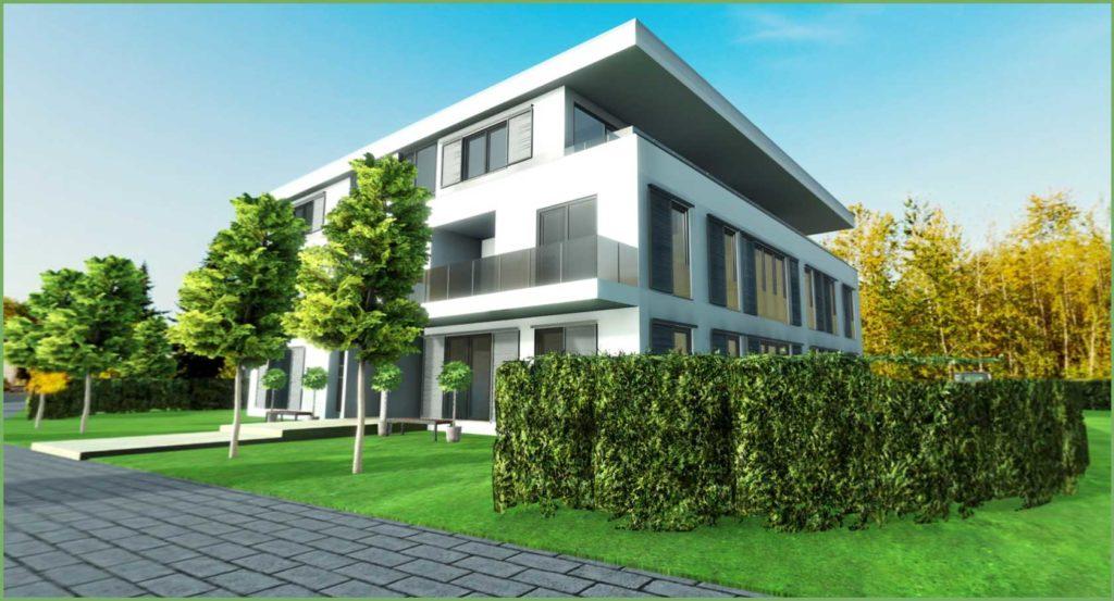 Visualisierung vom Mehrfamilienhaus im Walduferviertel